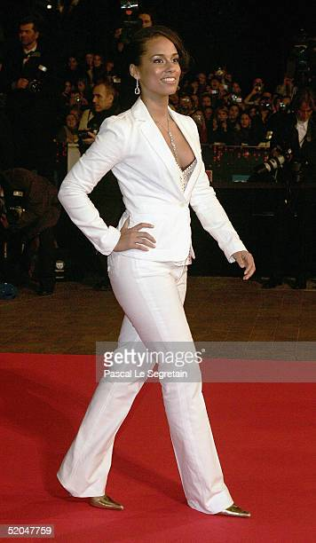 Singer Alicia Keys arrives at the 'NRJ Music Awards' at the Palais des Festivals on January 22 2005 in Cannes France The prestigious awards recognise...