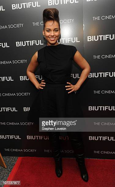 """Singer Alicia Keys attends a screening of """"Biutiful"""" hosted by the Cinema Society with Miuccia Prada, Sandra Brant & Ingrid Sischy at the Lighthouse..."""