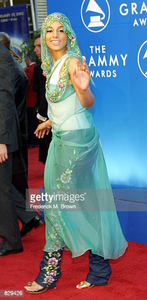 Singer Alicia Keys attends the 44th Annual Grammy Awards at Staples Center February 27 2002 in Los Angeles CA