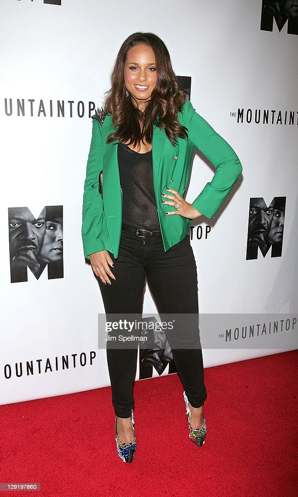Singer Alicia Keys attends 'The Mountaintop' Broadway opening night at The Bernard B. Jacobs Theatre on October 13, 2011 in New York City.