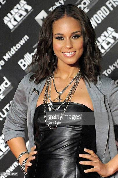 Singer Alicia Keys attends the photocall during her latest album promotion 'The Element Of Freedom' at Tokyo MidTown on January 14 2010 in Tokyo Japan