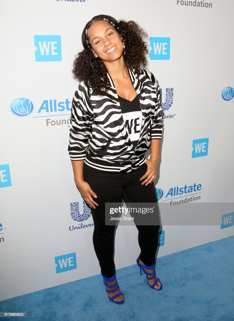 Singer Alicia Keys attends WE Day California to celebrate young people changing the world at The Forum on April 27, 2017 in Inglewood, California.