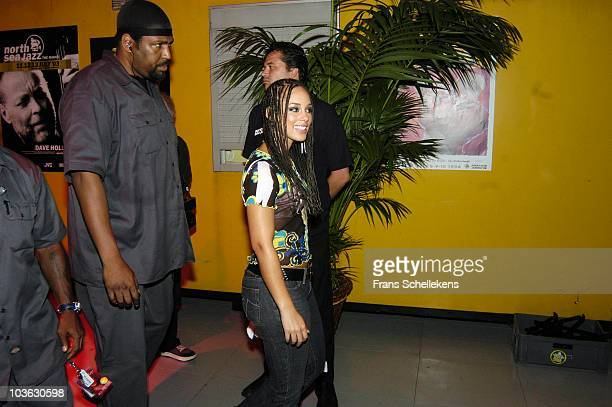 Singer Alicia Keys backstage with her security at the North Sea Jazz Festival in The Hague, Holland on July 11 2004