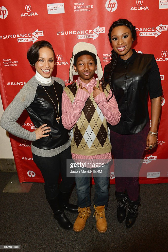 Singer Alicia Keys making a surprise appearance and actors Skylan Brooks and Jennifer Hudson at the 'The Inevitable Defeat of Mister and Pete' premiere during the 2013 Sundance Film Festival at Library Center Theater on January 17, 2013 in Park City, Utah.