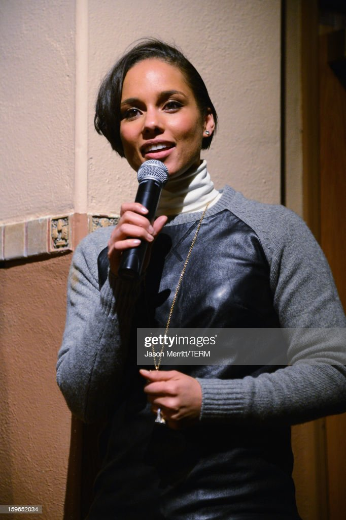 Singer Alicia Keys making a surprise appearance at a volunteer screening of the 'The Inevitable Defeat Of Mister And Pete' during the 2013 Sundance Film Festival at Library Center Theater on January 17, 2013 in Park City, Utah.