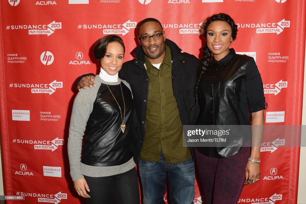 Singer Alicia Keys making a surprise appearance, director George Tillman Jr. and actress/singer Jennifer Hudson attend the 'The Inevitable Defeat Of Mister And Pete' premiere during the 2013 Sundance Film Festival at Library Center Theater on January 17, 2013 in Park City, Utah.