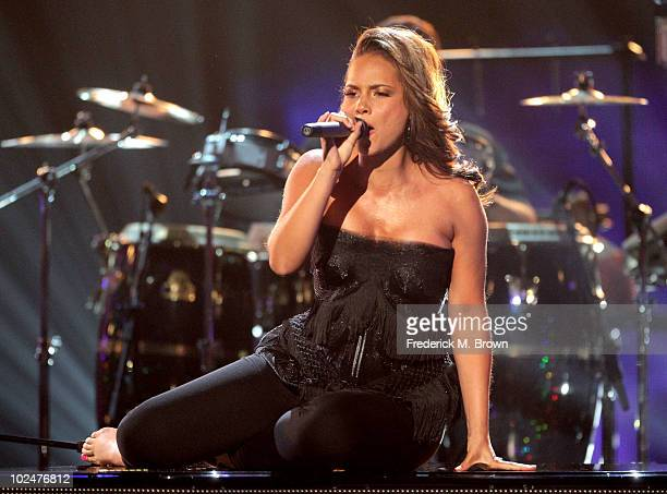 Singer Alicia Keys performs a tribute to Prince during the 2010 BET Awards held at the Shrine Auditorium on June 27 2010 in Los Angeles California