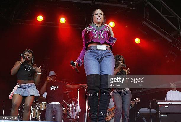 Singer Alicia Keys performs at a free concert in London in the shadow of Tower Bridge on July 1 2004 in London The concert forms part of the American...