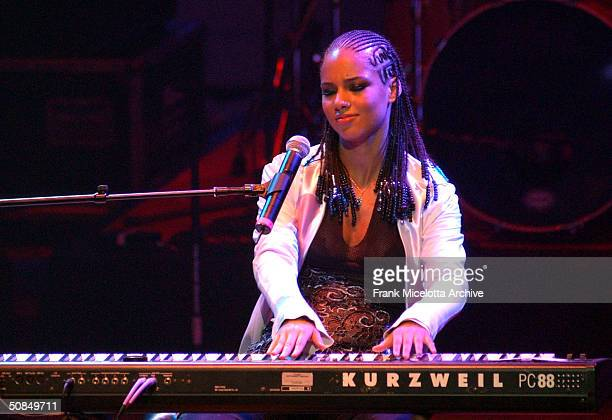 Singer Alicia Keys performs at Lifebeat's UrbanAID 2 a benefit concert to raise awareness of HIV prevention and AIDS issues in the urban community at...