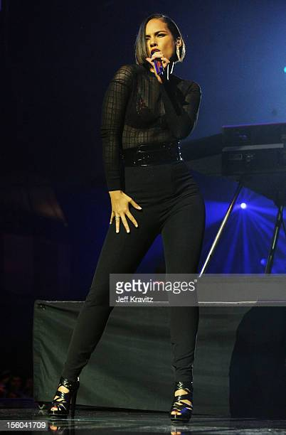 Singer Alicia Keys performs during the MTV EMA's 2012 at Festhalle Frankfurt on November 11, 2012 in Frankfurt am Main, Germany.