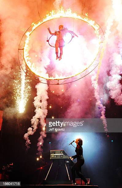 Singer Alicia Keys performs during the MTV EMA's 2012 at Festhalle Frankfurt on November 11 2012 in Frankfurt am Main Germany