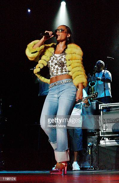 Singer Alicia Keys performs in concert at the Greek Theater on July 30 2002 in Los Angeles California