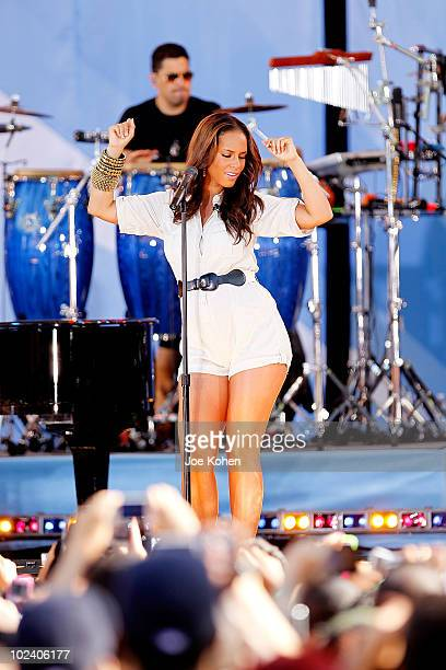 Singer Alicia Keys performs on ABC's 'Good Morning America' at Rumsey Playfield Central Park on June 25 2010 in New York City