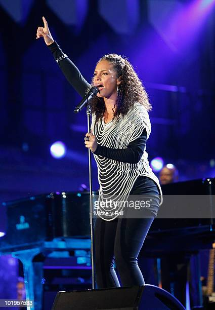 Singer Alicia Keys performs on stage during the FIFA World Cup Kick-off Celebration Concert at the Orlando Stadium on June 10, 2010 in Johannesburg,...