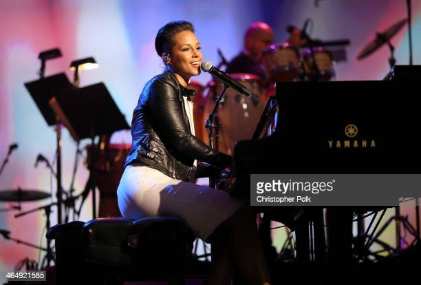 Singer Alicia Keys performs onstage at 2014 MusiCares Person Of The Year Honoring Carole King at Los Angeles Convention Center on January 24 2014 in...