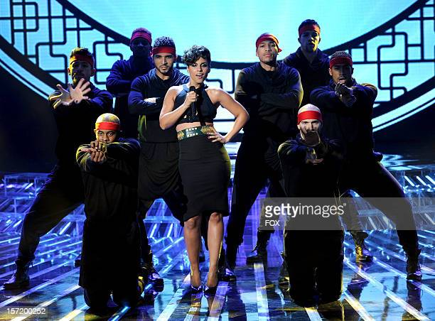 """Singer Alicia Keys performs onstage at FOX's """"The X Factor"""" Season 2 Top 8 to 6 Live Elimination Show on November 29, 2012 in Hollywood, California."""