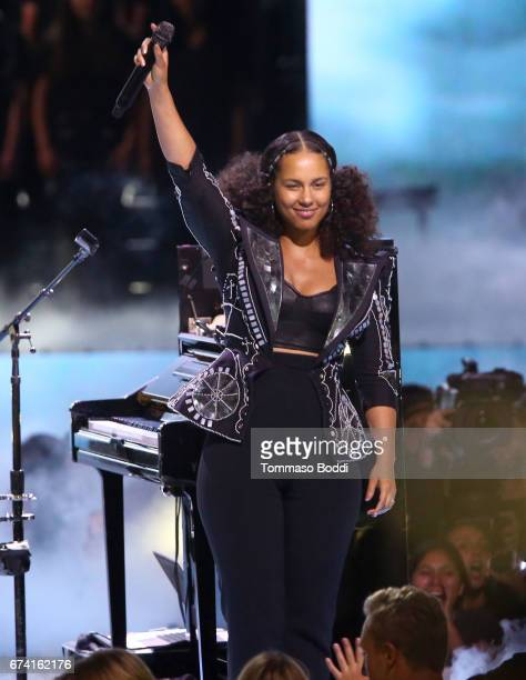 Singer Alicia Keys performs onstage at WE Day California to celebrate young people changing the world at The Forum on April 27 2017 in Inglewood...