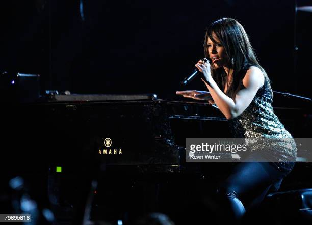 Singer Alicia Keys performs onstage during the 50th annual Grammy awards held at the Staples Center on February 10 2008 in Los Angeles California