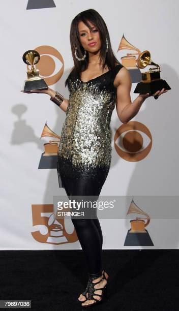 Singer Alicia Keys poses with her trophies of Best Female R'B Vocal Performance and Best R'B Song at the 50th Grammy Awards in Los Angeles on...