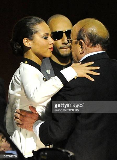 Singer Alicia Keys producer Swizz Beatz and Chief Creative Officer of Sony Music Entertainment Clive Davis arrive at the Clive Davis and The...