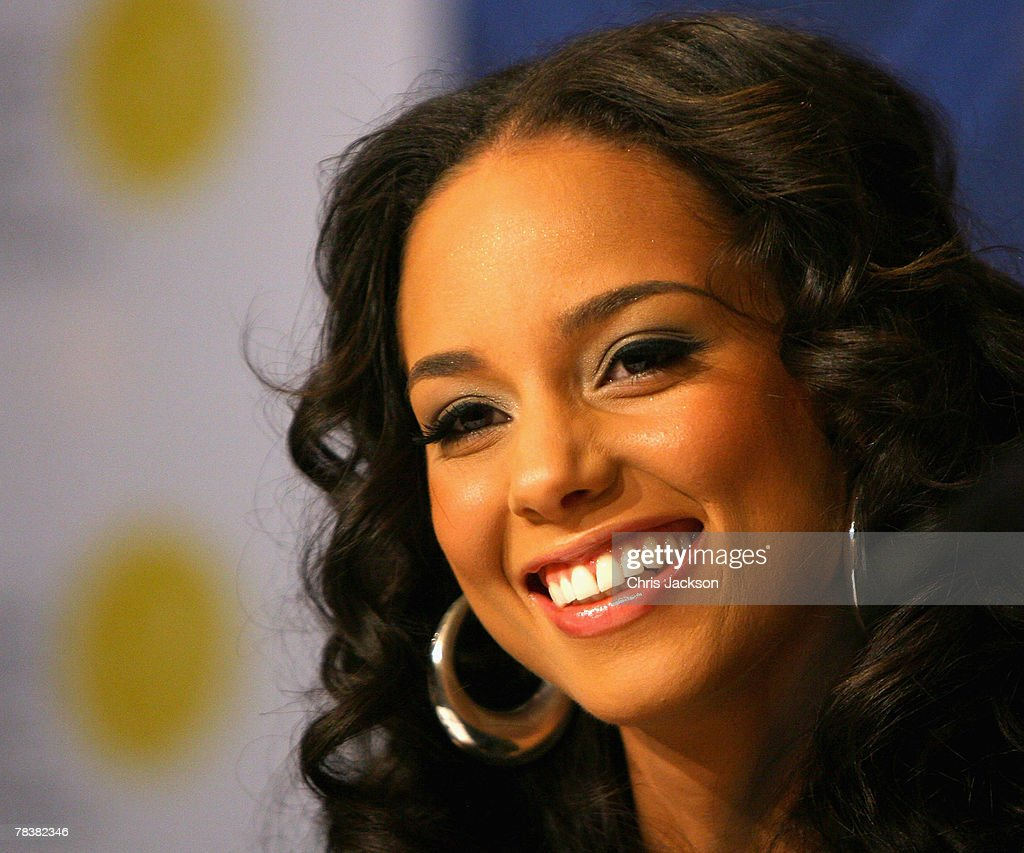 Alicia Smiles singer alicia keys smiles during a press conference for