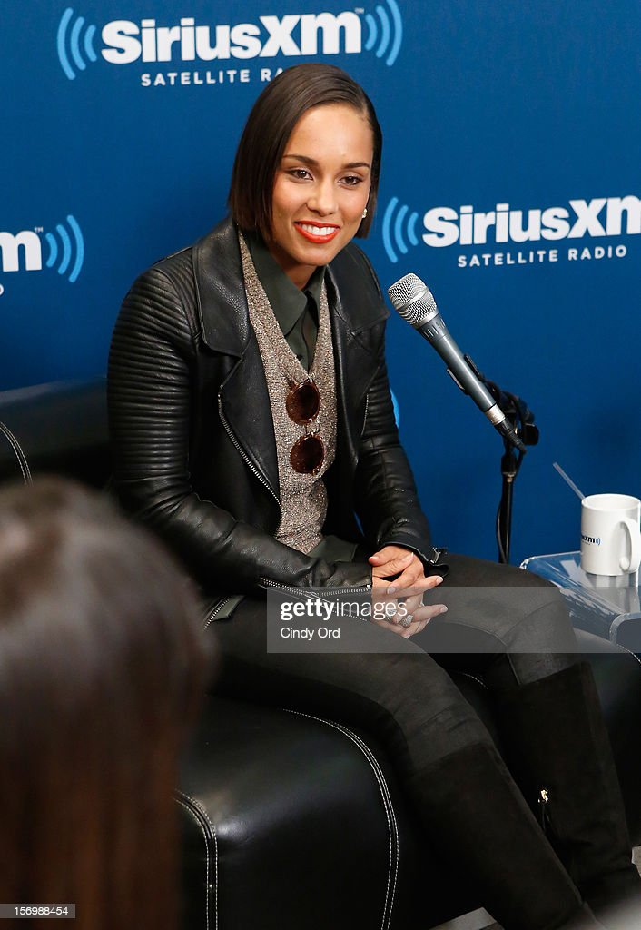 Singer Alicia Keys speaks during the SiriusXM Town Hall With Alicia Keys And Moderator Sway Calloway Live On 'Heart And Soul' at SiriusXM Studios on November 26, 2012 in New York City.