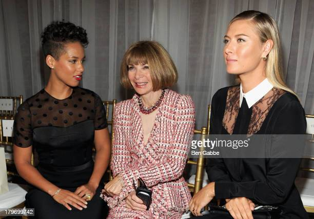 Singer Alicia Keys Vogue editorinchief Anna Wintour and tennis player Maria Sharapova attend the Jason Wu fashion show during MercedesBenz Fashion...