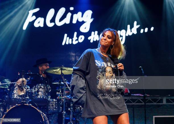 Singer Alina Baraz performs on stage during Safe Sound Music Festival 2018 at Westminster Pier Park on August 25 2018 in New Westminster Canada
