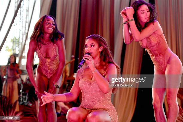 Singer Alina Baraz performs on the Gobi stage during week 1 day 2 of the Coachella Valley Music and Arts Festival on April 14 2018 in Indio California