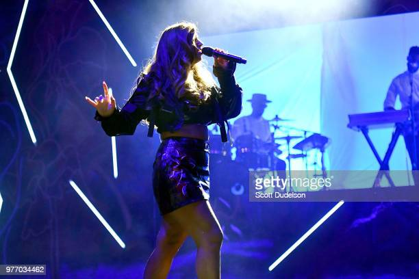 Singer Alina Baraz performs onstage during the Smokin' Grooves Festival at The Queen Mary on June 16 2018 in Long Beach California