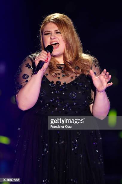 Singer Alina performs during the 'Schlagerchampions Das grosse Fest der Besten' TV Show at Velodrom on January 13 2018 in Berlin Germany