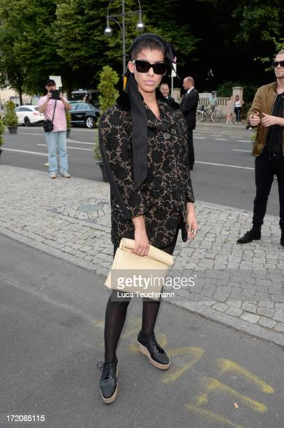 Singer Alina Sueggeler attends the MercedesBenz Fashion Week Berlin Spring/Summer 2014 Preview Show by Grazia at the Brandenburg Gate on July 1 2013...