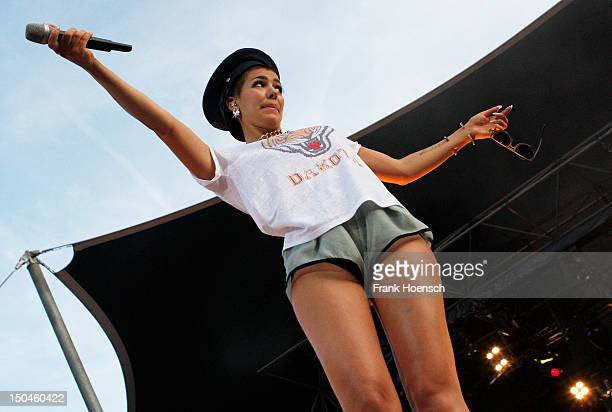 Singer Alina Sueggeler of the German band Frida Gold performs live during the rs2 Summer Festival at Wuhlheide on August 18 2012 in Berlin Germany
