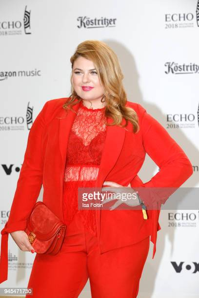 Singer Alina Wichmann arrives for the Echo Award at Messe Berlin on April 12 2018 in Berlin Germany