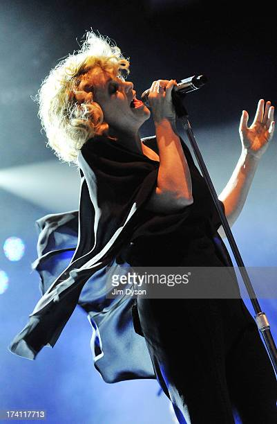 Singer Alison Goldfrapp performs live during the Somerset House Summer Series of openair concerts on July 20 2013 in London England