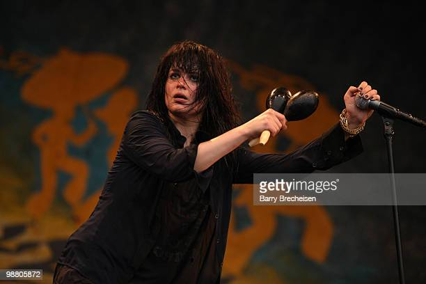 Singer Alison Mosshart of Dead Weather performs during day 7 of the 41st annual New Orleans Jazz Heritage Festival at the Fair Grounds Race Course on...