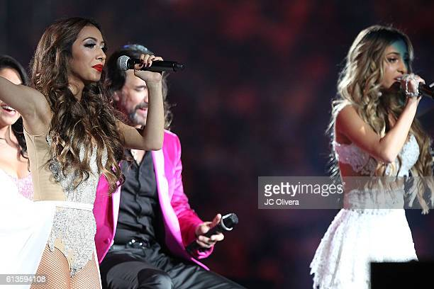 Singer Alison Solis performs as special guest during Marco Antonio Solis AKA 'El Buki' concert at Staples Center on October 8 2016 in Los Angeles...