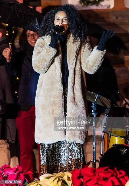 Singer Alita Moses performs during the 2019 Philadelphia Holiday Tree Lighting Celebration at Philadelphia City Hall on December 04 2019 in...