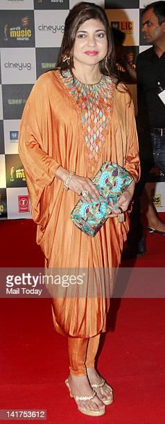 Singer Alka Yagnik at the Radio Mirchi Music Awards 2012 held at Bhavans College in Mumbai on March 21 2012