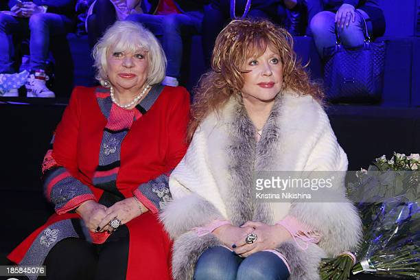 Singer Alla Pugacheva attends the MercedesBenz Fashion Week Russia S/S 2014 on October 25 2013 in Moscow Russia