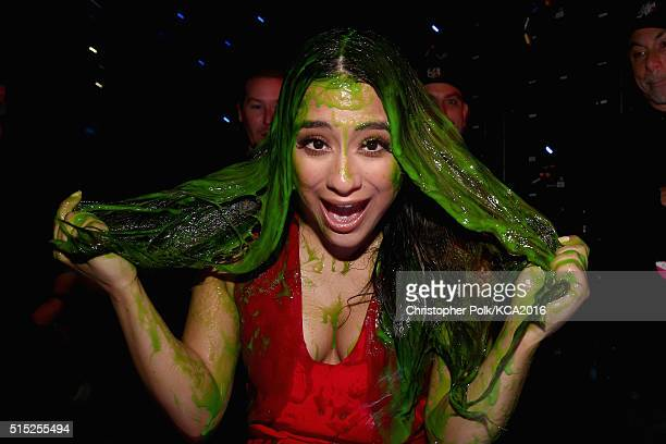 Singer Ally Brooke of Fifth Harmony gets slimed during Nickelodeon's 2016 Kids' Choice Awards at The Forum on March 12 2016 in Inglewood California