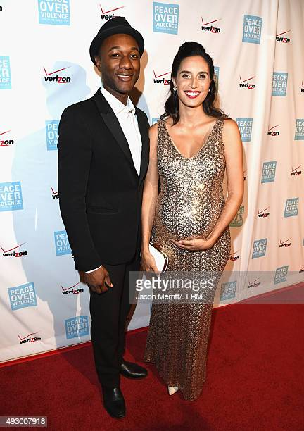 Singer Aloe Blacc and rapper Maya Jupiter attend The 44th Annual Peace Over Violence Humanitarian Awards at Dorothy Chandler Pavilion on October 16...