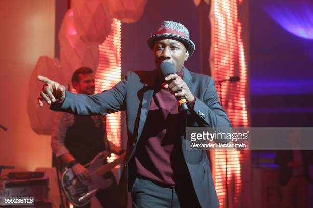 Singer Aloe Blacc performes at the FWU Night 2018 on day 8 of the BMW Open by FWU at MTTC IPHITOS on May 5 2018 in Munich Germany