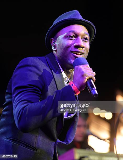 Singer Aloe Blacc performs onstage at the City Year Los Angeles 'Spring Break' Fundraiser at Sony Studios on April 19 2014 in Los Angeles California