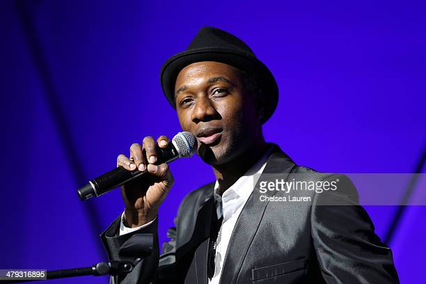 Singer Aloe Blacc performs onstage during iHeartRadio's Artists on the Verge featuring Christina Perri NONONO and Aloe Blacc at 4A's Transformation...