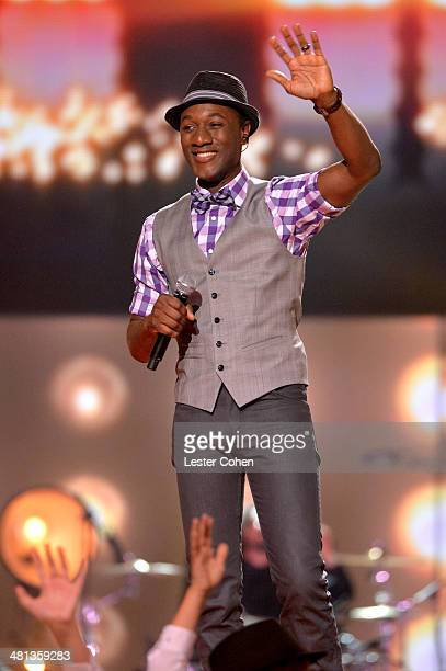 Singer Aloe Blacc performs onstage during Nickelodeon's 27th Annual Kids' Choice Awards held at USC Galen Center on March 29 2014 in Los Angeles...