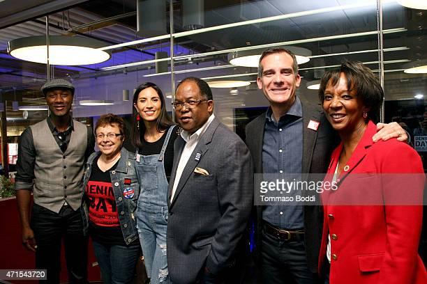 Singer Aloe Blacc USA Executive Director of Peace Over Violence Patti Giggans rapper Maya Jupiter Supervisor Mark RidleyThomas Los Angeles Mayor Eric...