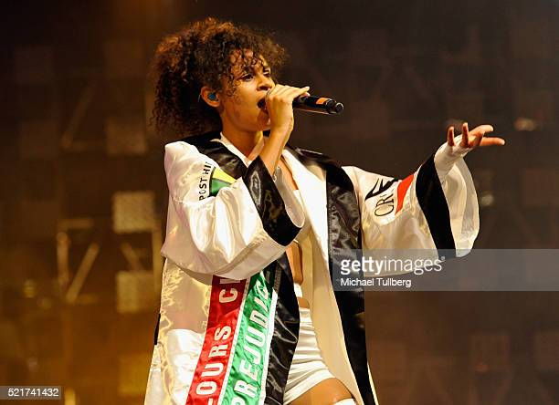 Singer Aluna Francis of AlunaGeorge performs onstage during day 2 of the 2016 Coachella Valley Music Arts Festival Weekend 1 at the Empire Polo Club...