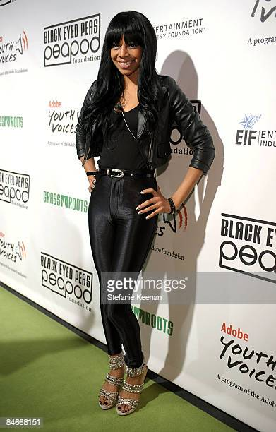 Singer Alycia Bellamy arrives at the Black Eyed Peas Peapod Foundation benefit concert presented by Adobe Youth Voices inside the Conga Room at the...