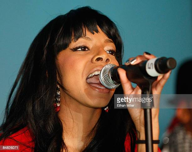 Singer Alycia Bellamy performs during a concert and fashion show for Vanessa Simmons and Angela Simmons' Pastry handbag and apparel line presented by...